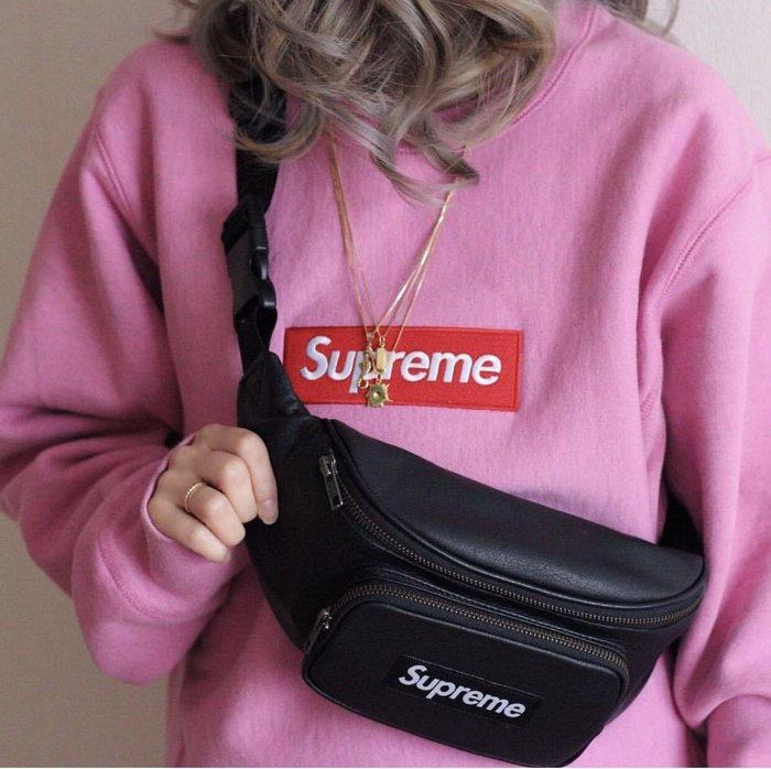 全新商品 Supreme 17SS Leather Waist Bag 皮革 肩包 斜跨包 斜肩包