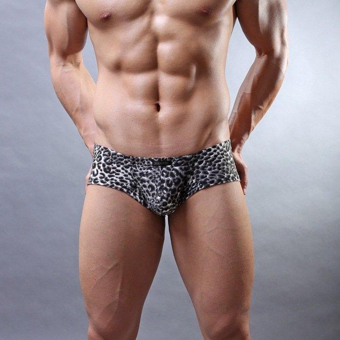 【促銷】男平角內褲豹紋低腰四角褲U凸設計性感塑身 正品《》