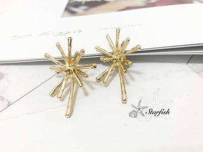 【海星 Starfish】 925銀針 韓設計款 星芒綻放貼耳造型耳環