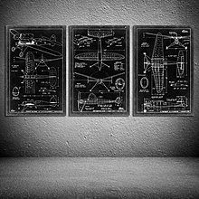 美式複古loft工業風飛機裝飾畫壁飾壁掛酒吧咖啡館牆飾掛畫無框畫(3款可選)