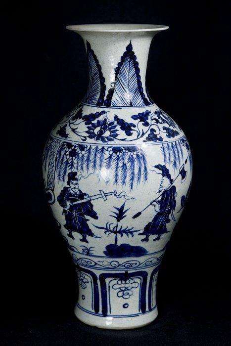 《博古珍藏》元.青花蕭何月下追韓信花瓶.高42公分.早期收藏.老件瓷器.非琺瑯彩粉彩釉里紅.超值回饋