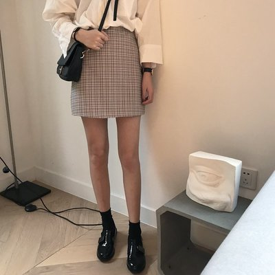 復古格子高腰半身裙女夏季新款韓版寬松顯瘦A字裙短裙包臀裙子