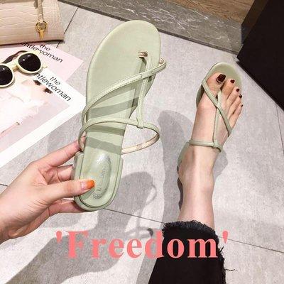 Freedom~女鞋女士拖鞋2019夏季新款時尚性感鏤空綁帶夾腳舒適平底鞋涼拖鞋外穿