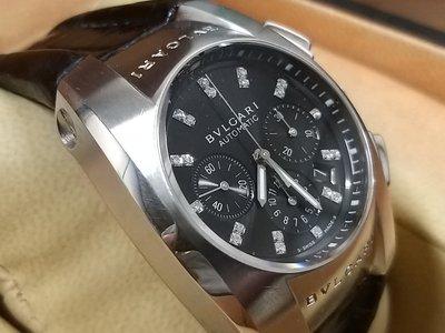 ☆寶格麗 BVLGARI  Ergon EG 35 S CH 帥氣自動上鍊計時機械錶( 原鑲鑽石時標) ☆