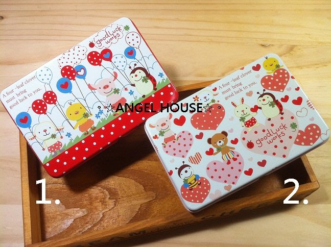 。☆ANGEL HOUSE☆。日本進口**good luck 小動物**大家再一起/收納鐵盒101