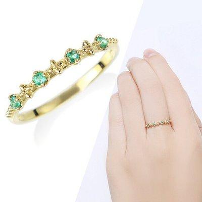 *misaki*の日本Jewelry純代購【日本網路飾品】「天然緑寶石」「幸福の石」純10K黄K金戒指【東京 本店】