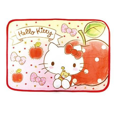 HELLO KITTY小毛毯 小被子 空調毯 kitty小蘋果款 日本正版~彤小皮的遊go世界