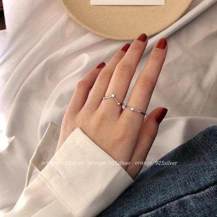 戒指女生女性流行飾品正韓國版chic~s925純銀v型鑲鉆開口戒指ins迷你韓國氣質單鉆指環不掉色女11-15