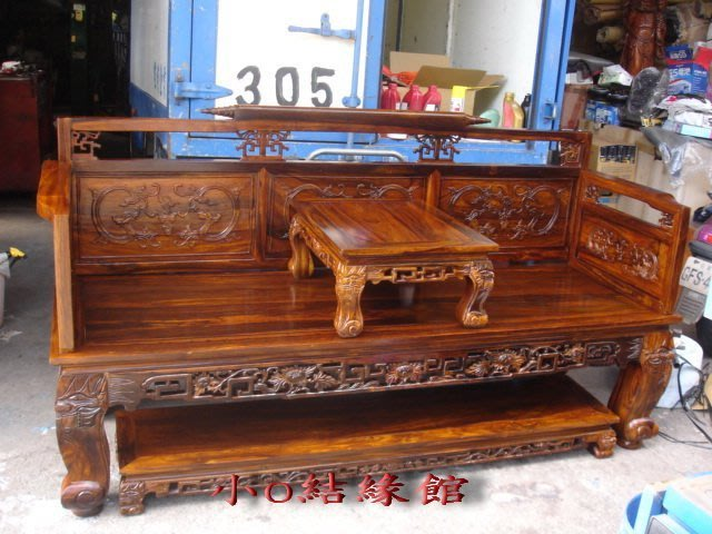 小o結緣館仿古傢俱.....書捲羅漢床.三人椅.客廳椅.休閒椅(雞翅木)202x70x106