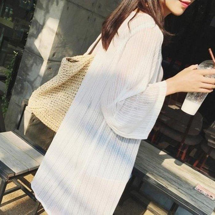 韓版蕾絲雪紡開衫女中長款薄防曬外套罩衫長袖網紗上衣披肩沙灘防曬衣【全館免運】
