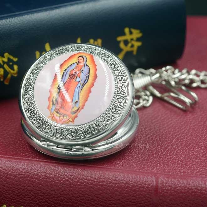 【弘慧堂】  天主教聖物 瓜答路佩聖母 石英懷表掛表47mm 耶穌基督 聖母瑪利亞