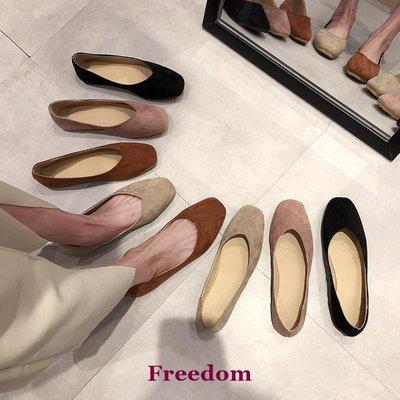 Freedom女鞋chic網紅豆豆鞋女2019春季新款復古奶奶鞋ins香港方頭平底樂福鞋