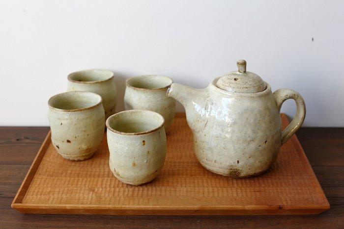 發現花園 日本選物 ~日本 益子燒 職人手作 佐藤敬 泡茶壺+4杯組