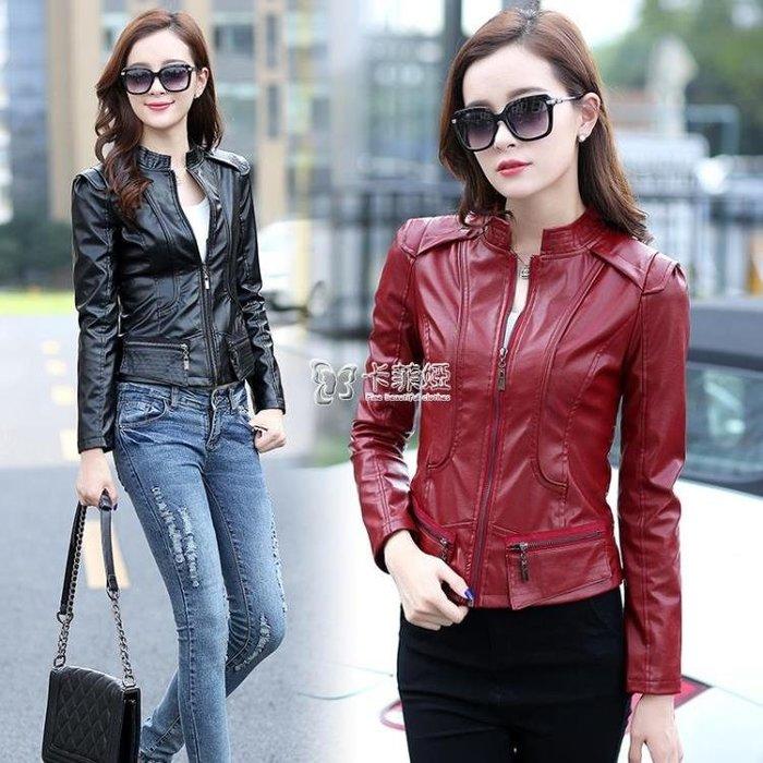 皮衣外套女 6591#2015新款機車小皮衣女短款修身pu夾克韓版西裝外套女580203