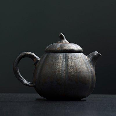 傳藝工坊 - 『鎏金灰念 南瓜壺』手工茶具 鐵鏽釉 鐵金 茶壺 茶杯 急須 正把 手拉坏 日本茶道 紫砂 柴燒 可參考