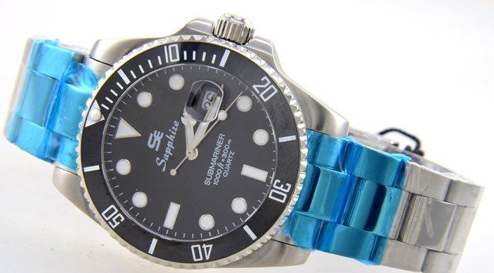 (六四三精品)大錶徑4.0公分黑水鬼王Sapphize(真品)全不銹鋼.藍寶石水晶鏡面.可游泳及浮潛之潛水錶!