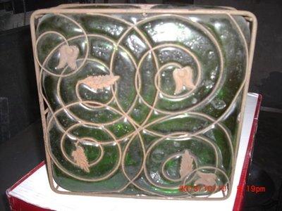 早期 古董綠玻璃四角燈