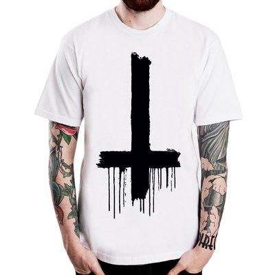 Inverted Cross-Dripping短袖T恤-2色 倒十字架插畫趣味幽默設計樂團搖滾美國棉390 gildan