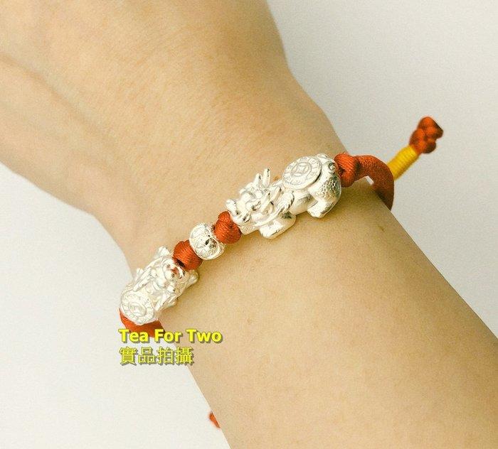 香港正生(現貨No1)- 925純銀 雙貔貅紅繩手鍊,開運手環