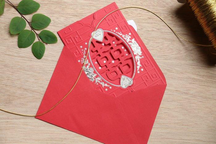 立泰喜帖 雷雕婚卡【特價18元】結婚訂婚歸寧 #4208