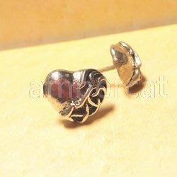 琥珀貓銀飾DIY【925純銀飾品】耳飾~耳針~A0953~蔓藤愛心~一對