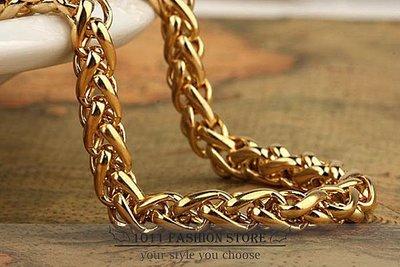 韓國 西德鋼 / 鈦鋼 / 不鏽鋼 黃金 色 男性項鍊 / 不鏽鋼項鍊 / 鈦鋼項鍊 配鍊  HB-120501