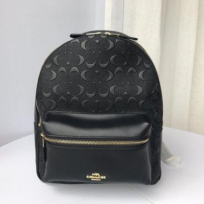 【八妹精品】COACH 32083 新款女士浮雕中號雙肩包 後背包 簡單大方後背包