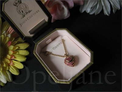 Juicy Couture Necklace 金色鍍金紫紅色愛心墬飾項鍊禮盒裝 免運費 愛Coach包包