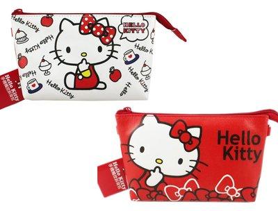 【卡漫迷】 Hello Kitty 手機袋 可觸控 二款選一 皮革 ㊣版 拉鍊 肩背 萬用 智慧型手機 化妝包 側背包
