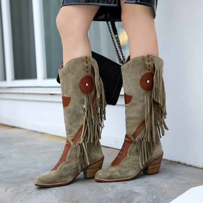 ~皮皮創~原創設計手工真皮馬丁靴。秋冬新款頭層磨砂牛皮騎士靴粗跟側拉鏈拼色帥氣波西米亞流蘇真皮長筒靴