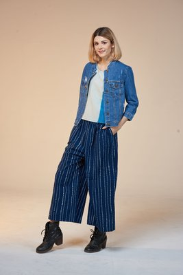 !中國藍Anewei客家藍染樟樹紋美型寬褲-F-MIT可修改或增加長度