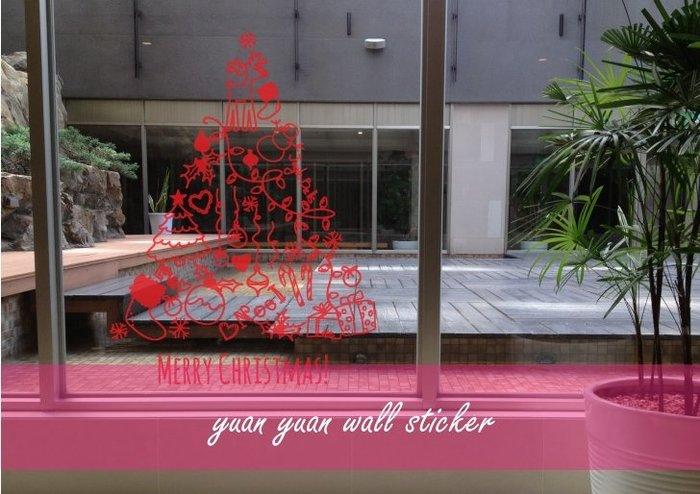 【源遠】 可愛藝術耶誕樹【Fe-06】壁貼 耶誕老公公 麋鹿 禮物 雪人 耶誕節 Merry Christmas