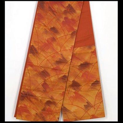【茶】日本和服腰帶  袋帶  橘色系  26-109