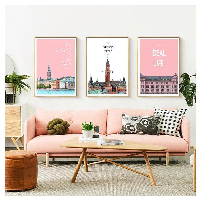 三幅一組油畫布 城市建築 畫芯/畫布/30X40☺暖暖屋☺傢居藝術館