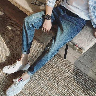 現貨/夏季薄款破洞九分牛仔褲男士寬鬆正韓修身小腳褲男生潮流乞丐褲子100SP5RL/ 最低促銷價