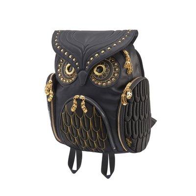 黑金鉚釘貓頭鷹後背包(L),實品拍攝有店面,香港Morn Creations授權販售~最特別的禮物都在奧爾思~