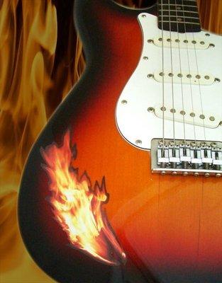 [園之屋] 現貨 日本 Inlay sticker 一搓火焰 火焰系列 琴身貼紙 民謠吉他 電吉他 簡單移除不傷漆面