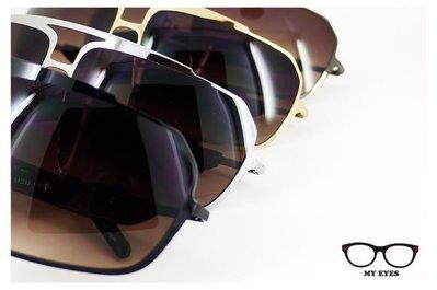 【My Eyes 瞳言瞳語】Bonkers 炫銀色/蜜金色薄片金屬中性太陽眼鏡 帥勁有型 輕盈好戴