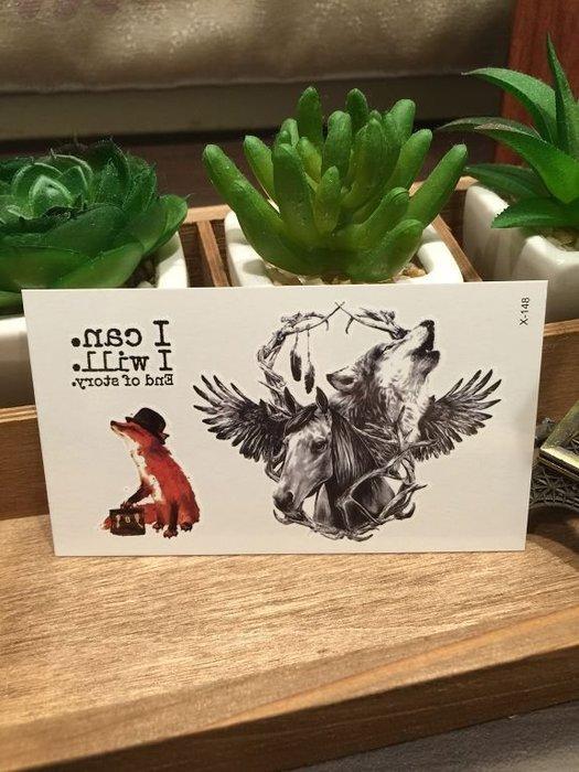 【萌古屋】X系列FOX狐狸X-148 - 男女防水韓風簡約紋身貼紙原宿刺青貼紙