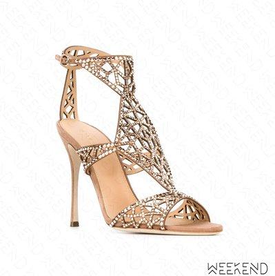 【WEEKEND】 SERGIO ROSSI Tesor 水晶 高貴 露趾 裸色 高跟鞋