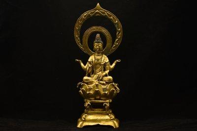 銅制 金鍍 四臂菩薩像 極美古美術 古文字在銘 貴重品