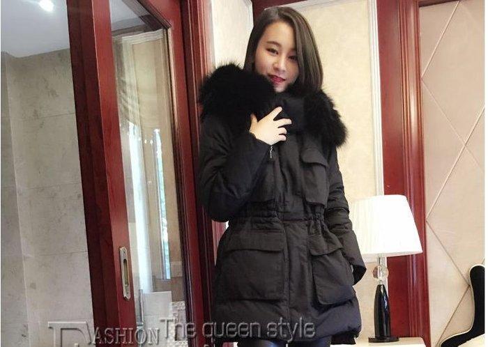 限量黑色下標區 韓國連線新款貉子真毛領 白鴨絨外套,大毛領奢華收腰抽繩保暖羽絨大衣