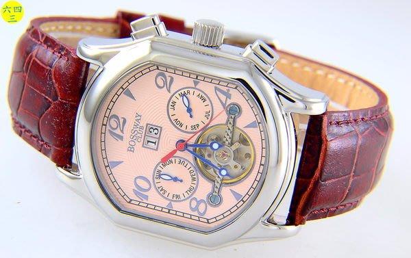 (六四三精品)BOSSWAY(真品)超大錶徑3.8x4.2.水晶鏡面.超複雜功能.自動上鍊機械錶!