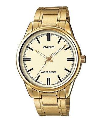 CASIO簡潔大方的三針-時分秒針設計MTP-V005G-9A  MTP-1275G -9A  金色 男錶
