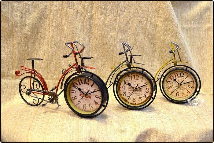 復古腳踏車淑女車時鐘桌鐘 三色 自行車牛奶車鐵馬數字鐘造型鐘擺飾復古仿舊刷舊鐵鏽捷安特【【歐舍家飾】】