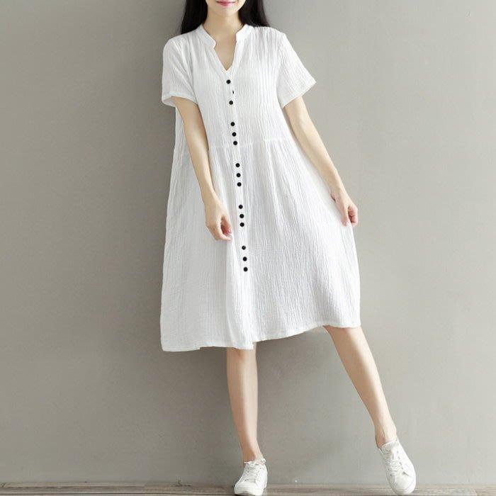 漂亮小媽咪 森林系 洋裝 【D7364】棉麻 文藝 短袖 開扣 連身裙 孕婦裝 開襟 棉麻洋裝