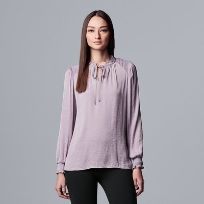 Vera Wang Ruched Sleeve Peasant Blouse
