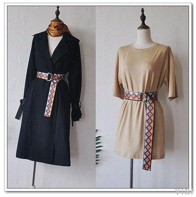 VINI 原創設計游牧風民族風彩色織帶腰帶超長超寬雙環腰帶可定制