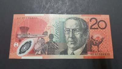 澳洲20元塑膠鈔一張(有折)