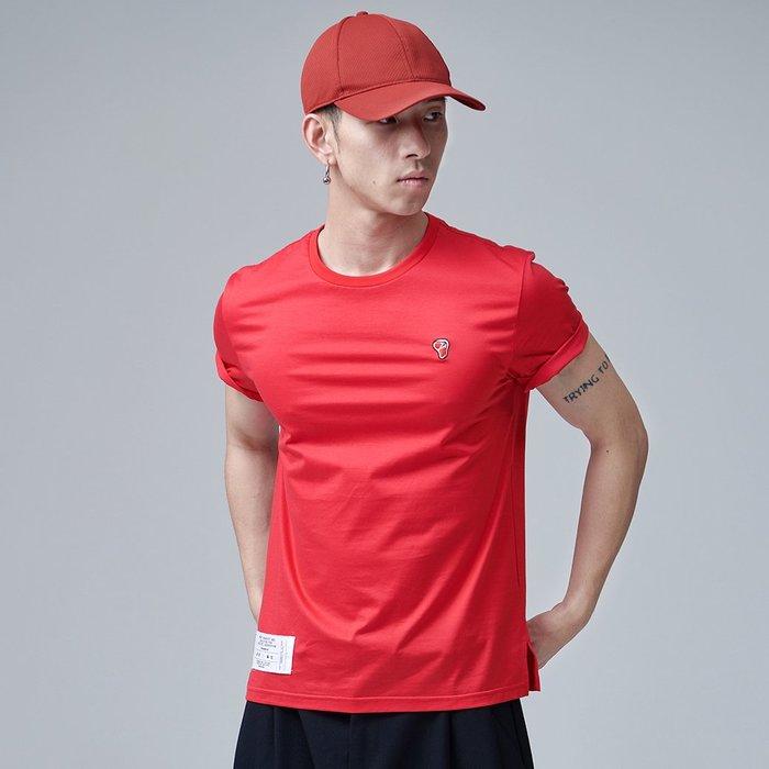 【OTOKO Men's Boutique】固制:小鮮肉刺繡長絨棉短袖/紅色(台灣獨家代理)